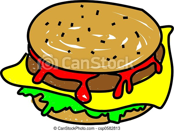 cheeseburger meal isolated on white drawn in toddler art drawings rh canstockphoto com cheeseburger clip art free bacon cheeseburger clipart