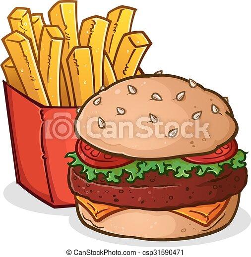 Cheeseburger French Fries Cartoon - csp31590471