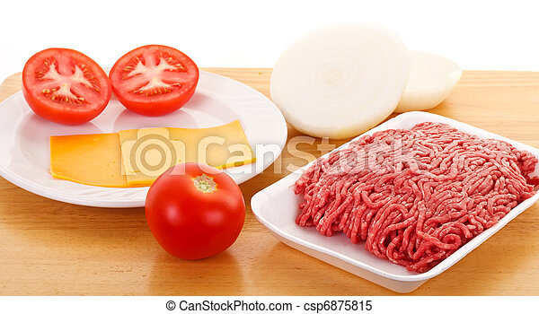 Cheeseburger Ingredients on a Wood Tray - csp6875815