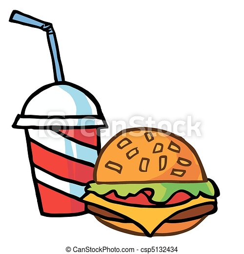 Cheeseburger Served With Cola - csp5132434