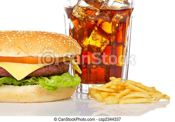 Cheeseburger, soda and french fries - csp2344337