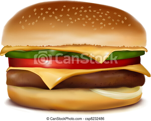 Cheeseburger.  Vector illustration. - csp8232486