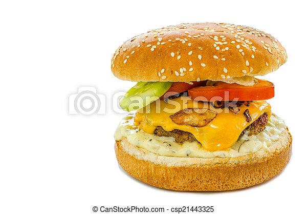 Cheeseburger with bacon and tartar sauce and garden salad - csp21443325