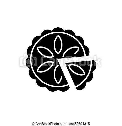 Cheesecake black icon, vector sign on isolated background. Cheesecake concept symbol, illustration - csp63694815