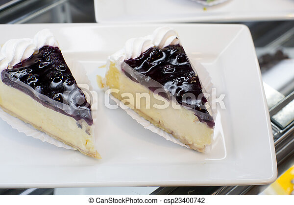 Cheesecake on a plate - csp23400742