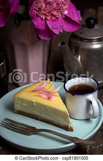 cheesecake on a plate - csp81891005