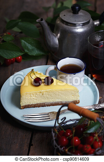 cheesecake on a plate - csp90814609