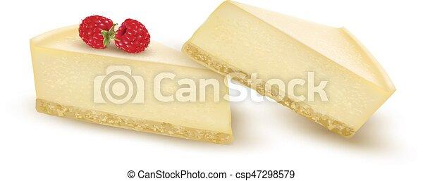 Cheesecake slice decorated with raspberry berries. Vector - csp47298579