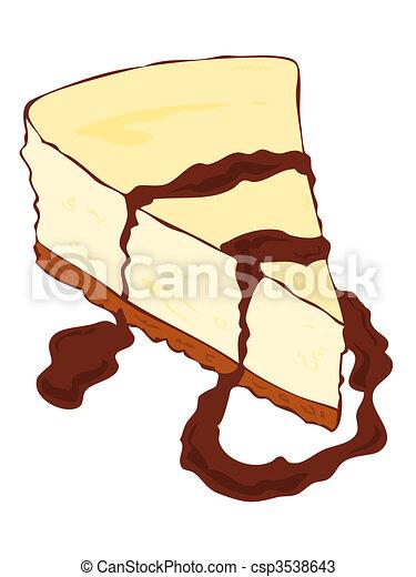 Cheesecake slice with chocolate. - csp3538643