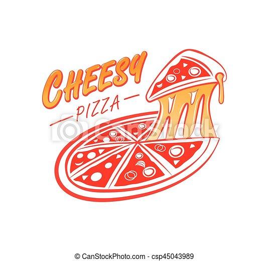 cheesy pizza logo - csp45043989