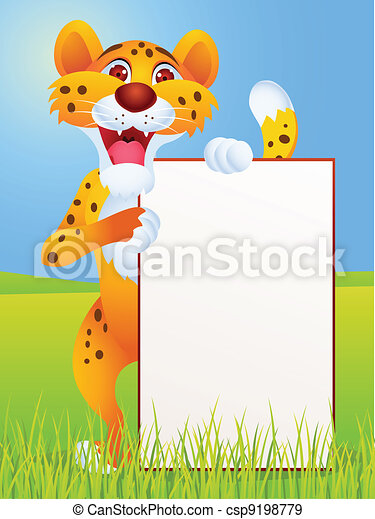 Cheetah cartoon with blank sign  - csp9198779