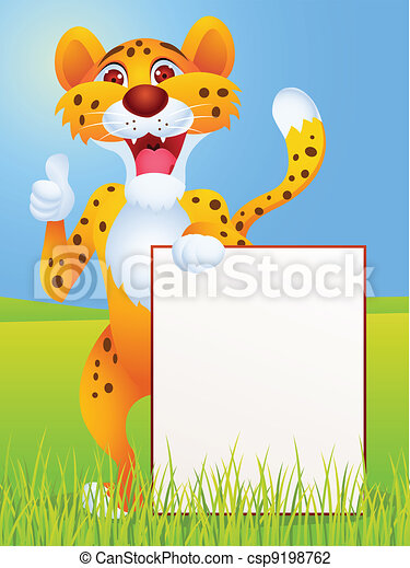 Cheetah cartoon with blank sign  - csp9198762