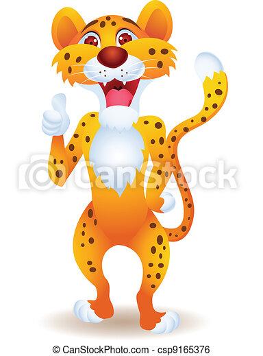 Cheetah cartoon with thumb up - csp9165376