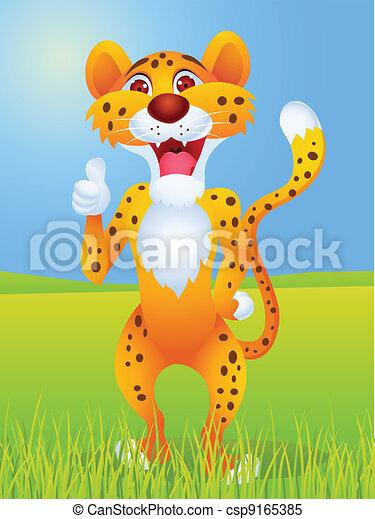 Cheetah cartoon with thumb up  - csp9165385
