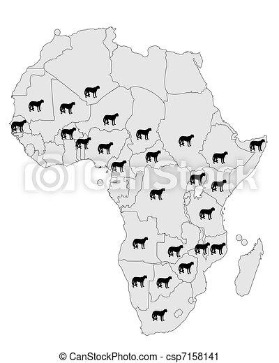 Cheetah distribution Africa - csp7158141
