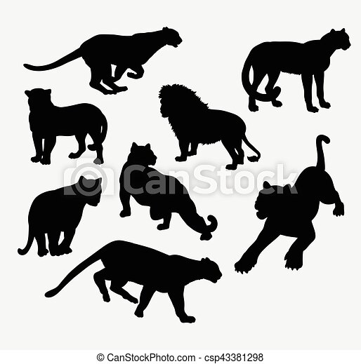 Cheetah Lion Tiger And Panther Wild Animal Silhouette Good Use