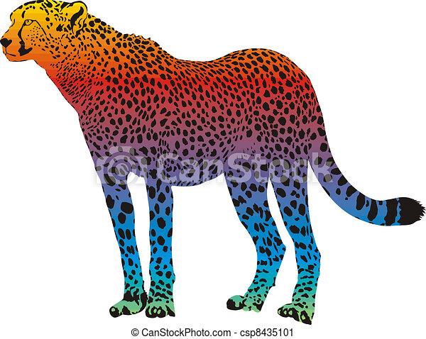 cheetah - vector abstract rainbow - csp8435101