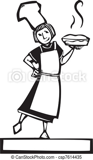 Chef and fresh pie - csp7614435