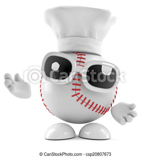 El personaje de béisbol 3D es un chef - csp20807673