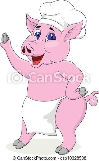 chef, carattere, cartone animato, maiale - csp10328508