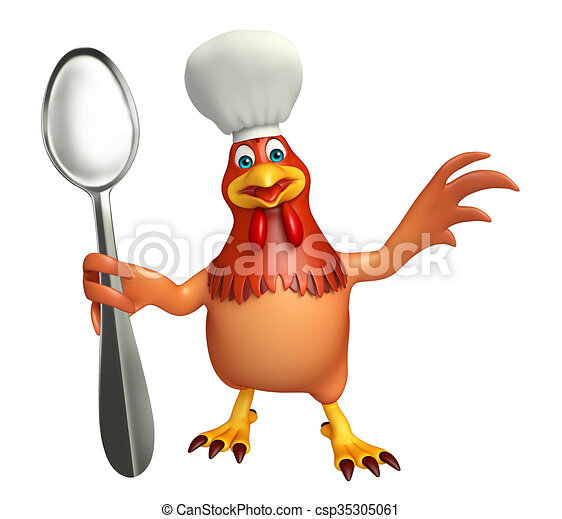 Chef carattere cucchiai gallina cappello cartone animato. chef