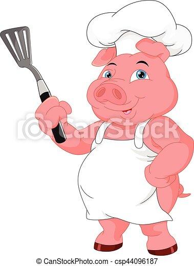 chef, carino, cartone animato, maiale - csp44096187