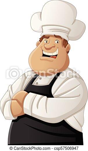 Chef cartone animato grasso il portare grembiule grasso chef
