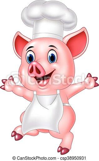 chef, cartone animato, maiale - csp38950931