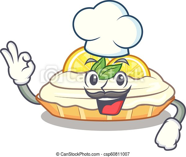 Chef cartoon lemon cake with lemon slice - csp60811007