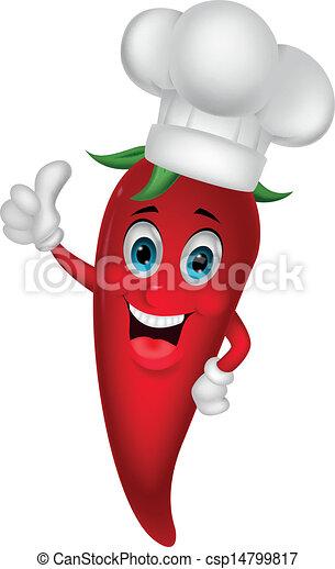 Chef chili cartoon with thumb up  - csp14799817