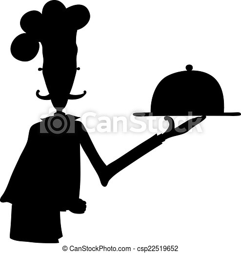 silhouette of a chef with dish clipart vector search illustration rh canstockphoto com Black Chef Silhouette Chef Cooking Clip Art