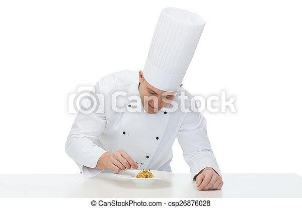 Feliz chef cocinero masculino plato de decoración - csp26876028