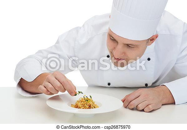 chef, cocinero, plato, decorar, macho, feliz - csp26875970