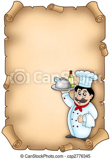 Chef comiendo en pergamino - csp2776345