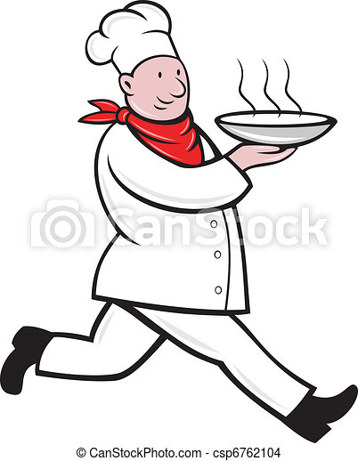 chef cook running serving hot soup bowl - csp6762104