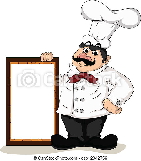 chef cook with blank board - csp12042759