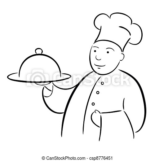 chef cook with tray calligraphy drawing - csp8776451