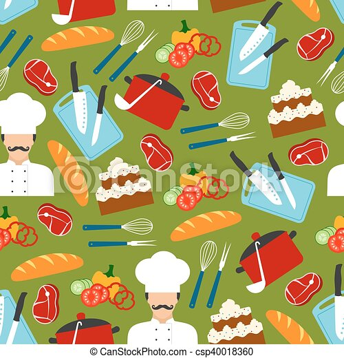 Chef cooking dinner seamless pattern - csp40018360