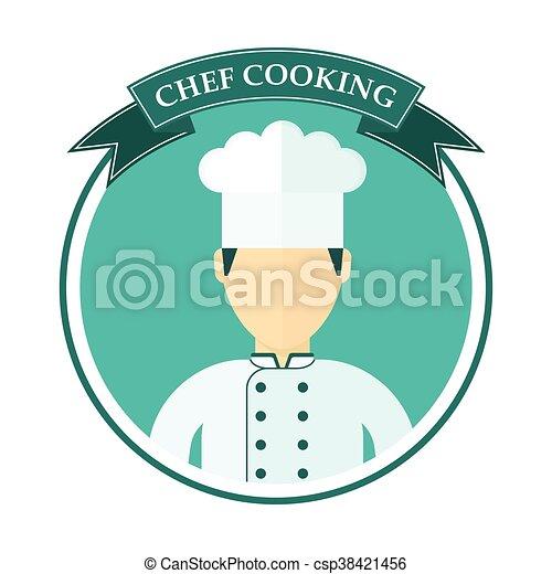chef cooking logo blue logo with the chef in a chef hat template