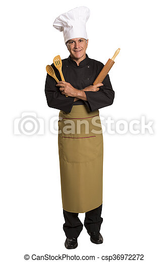 chef cooking with a rolling pin. - csp36972272