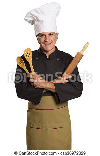 chef cooking with a rolling pin. - csp36972329