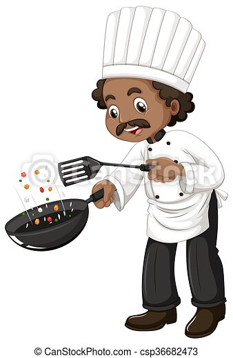 Chef cooking with frying pan and spatula - csp36682473