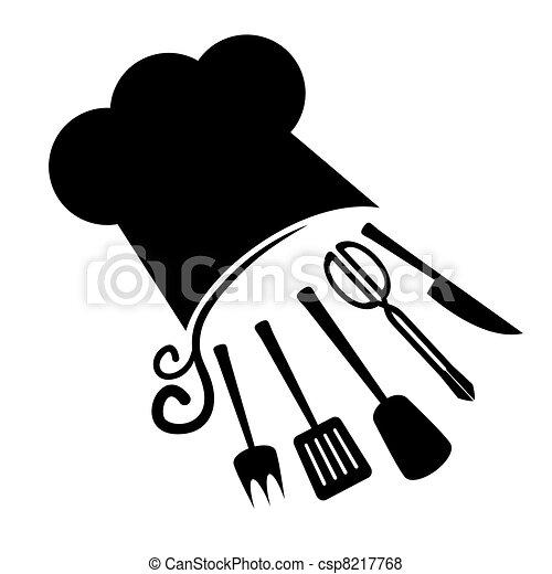 chef cuistot, art, icône - csp8217768