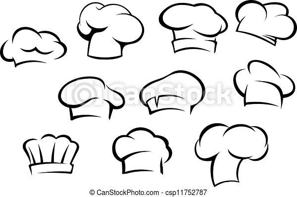 chef cuistot, blanc, chapeaux, casquettes - csp11752787