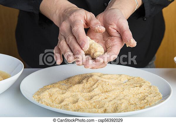 chef cuistot, croquettes, préparer, cuisine - csp56392029