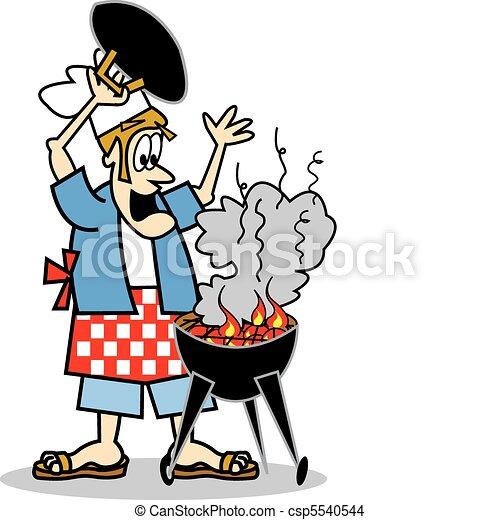Chef cuistot cuisinier cuisine ou barbecue gril for Art et cuisine chaudron line