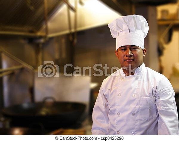 chef cuistot, debout, cuisine - csp0425298