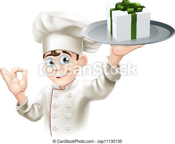chef cuistot, donner, cadeau - csp11130130