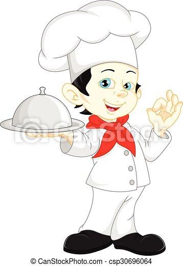 chef cuistot, garçon, dessin animé - csp30696064
