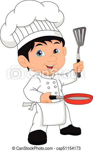 chef cuistot, garçon, dessin animé - csp51154173